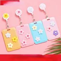cuteflower retractable card holder key chain cartoon bus subway student card holder trendy key chains for girls korean keychains