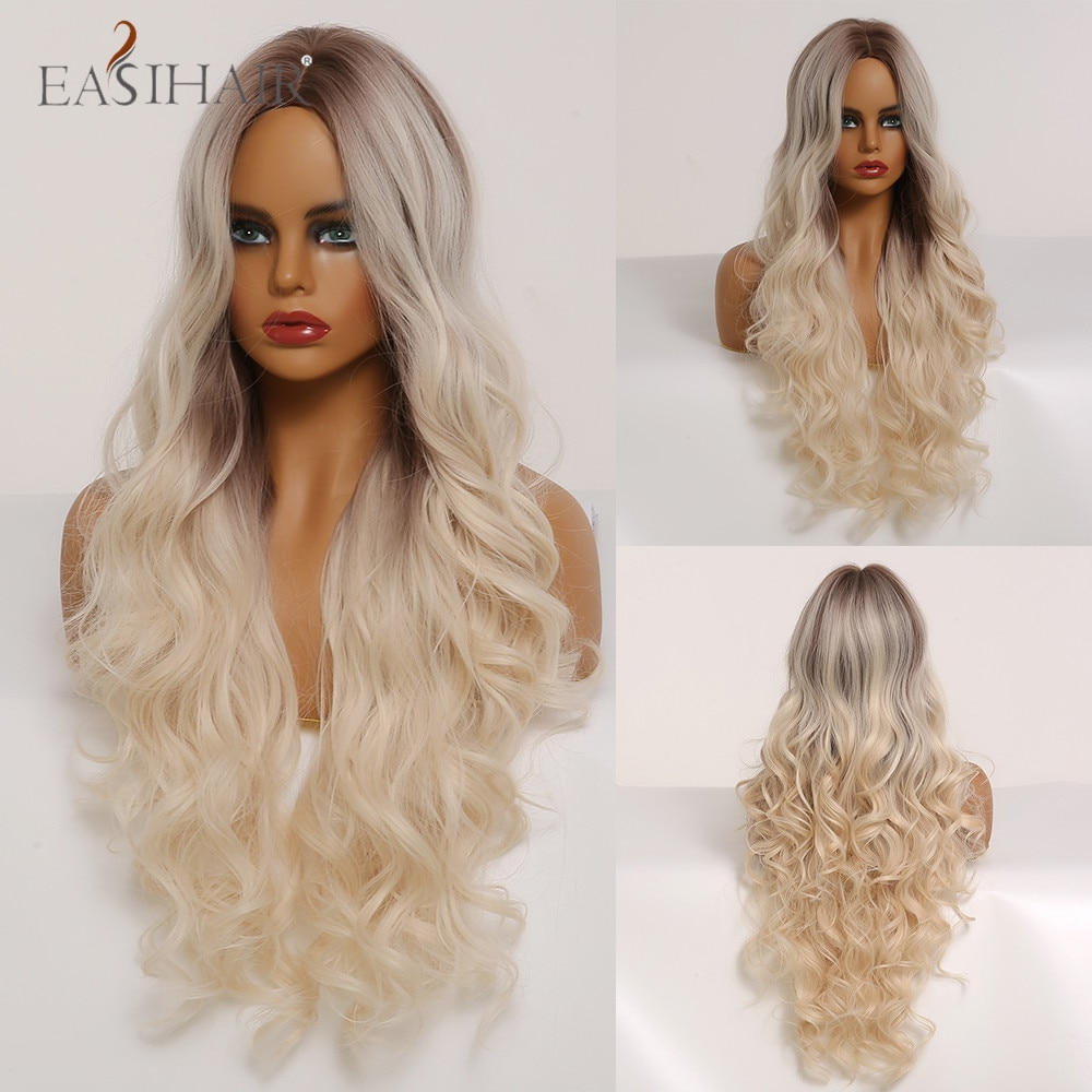 EASIHAIR Ombre Brown to Blonde Long Body Wavy Wigs with Highlights Natural Hair Wig Cosplay Synthetic Wigs for Black/White Women