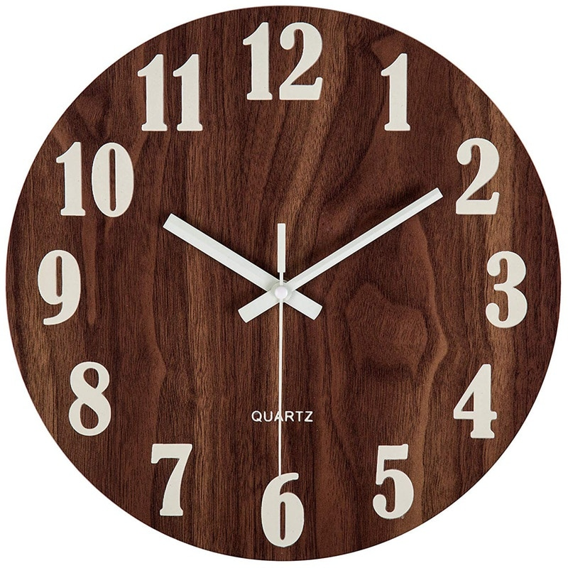 Wall Clock 12 Inch Night Light Function Wooden Wall Clock Vintage Rustic Country Tuscan Style For Kitchen Office Home Silent