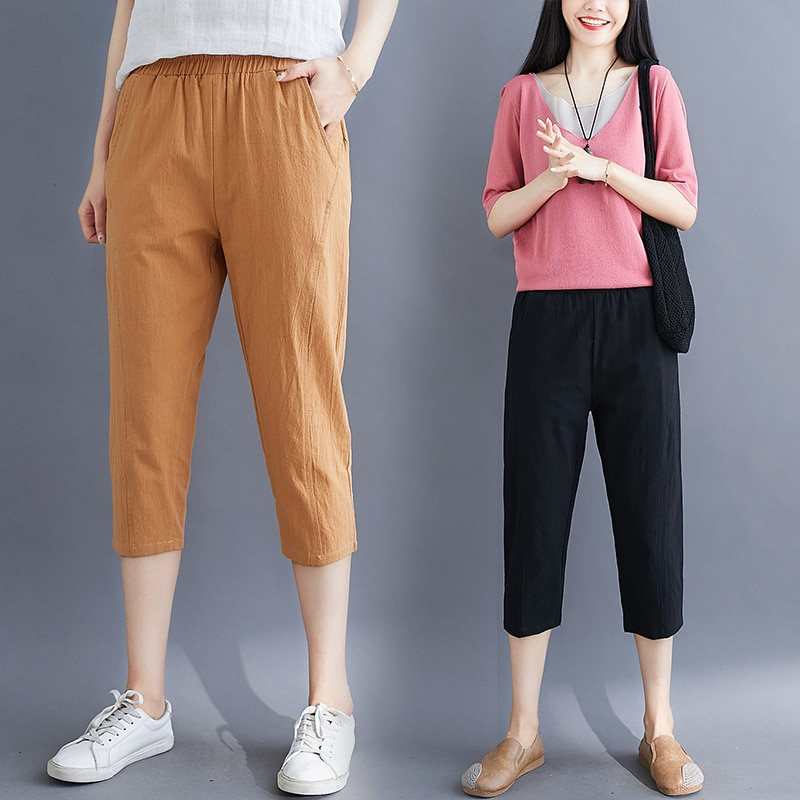 Cotton Linen Capri Pants Women's Summer Artistic Retro Elastic Waist Slimming Casual Pants Loose All