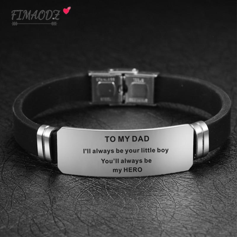 Pulsera FIMAODZ To My Dad para hombre siempre serás mi héroe exquisitas pulseras de silicona de acero inoxidable para regalo del Día del Padre