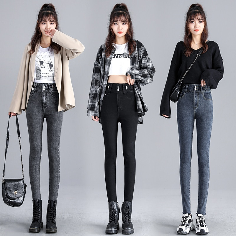 High Waist Jeans Women's Spring and Autumn Double Buckle Slim Slimming Stretch Skinny Versatile Penc