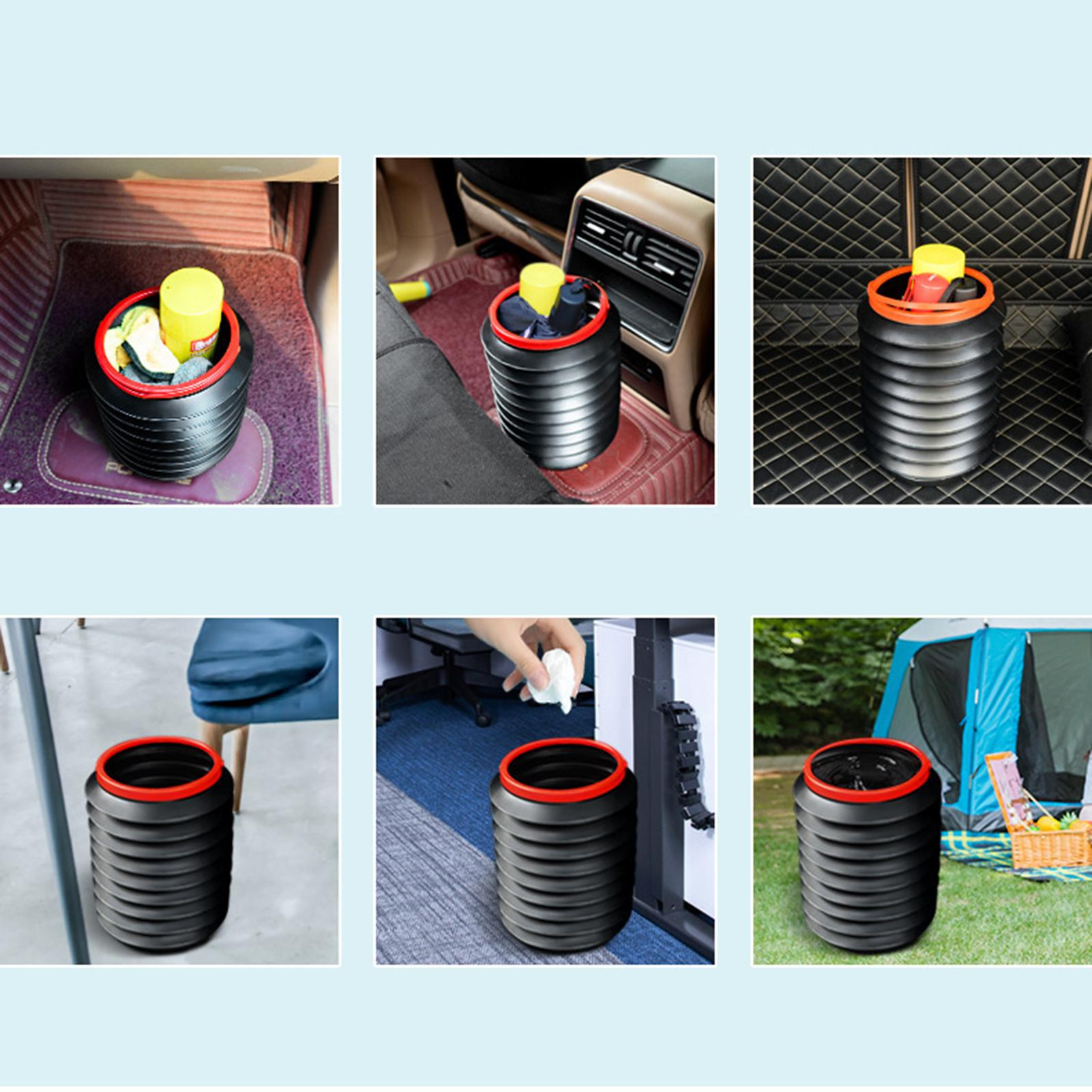 Multifunctional Telescopic For Car Dustbin Waste Black Rubbish Basket Bin Organizer Storage Holder B