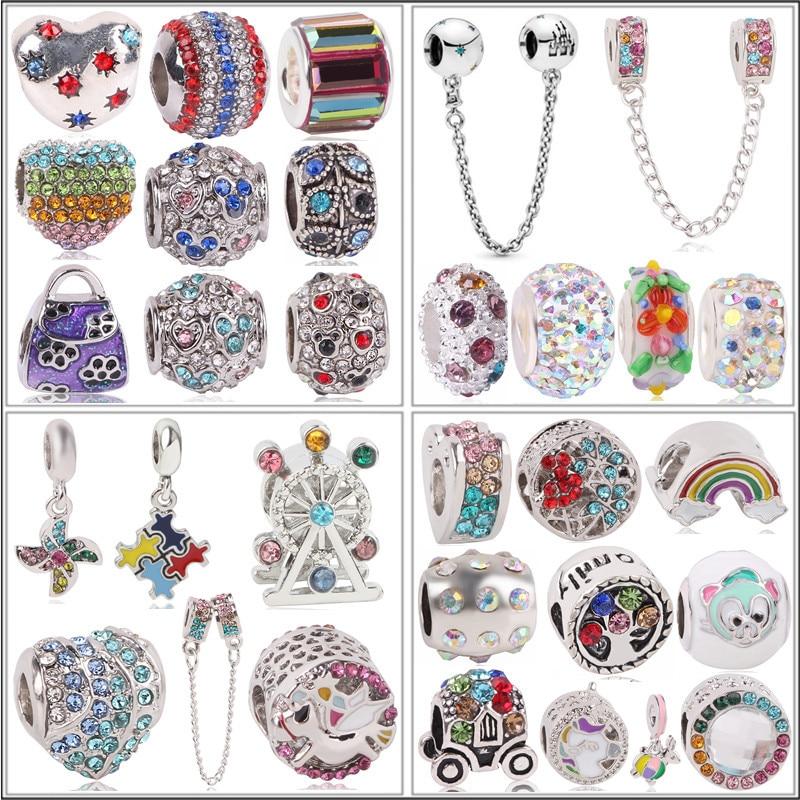 Couqcy NEW Original Silver Color Bead Rose Gold Color Enamal Pendant Dangle Charms Fit Pandora Bracelet Necklace DIY Jewelry