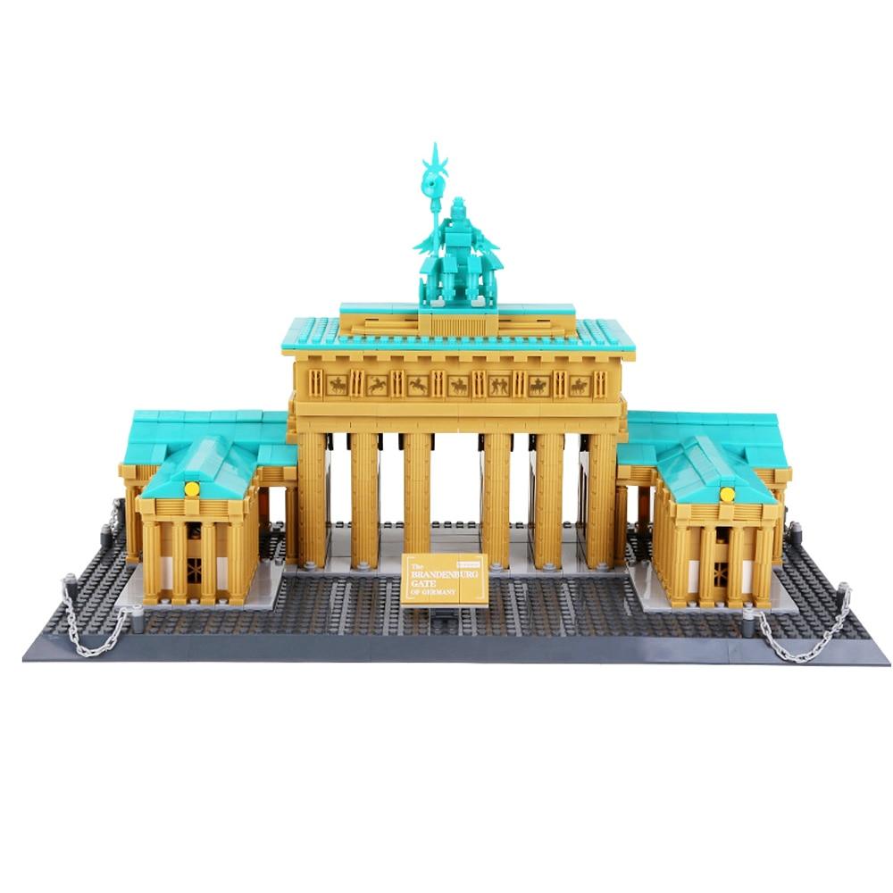 Wange 6211 city creators Street view famous Brandenburg Gate Berlin Germany Building Blocks bricks toys For Children