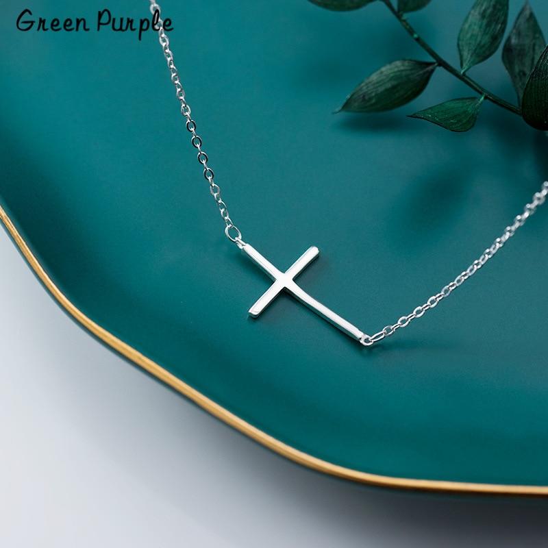 Collar de cruz de plata 925 joyería de plata colgantes minimalismo Chocker Boho Kolye Vintage Boho Bijoux collar de mujer Collier