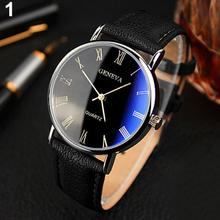 2020 Newest Men Roman Numerals Blu-Ray Faux Leather Band Quartz Analog Business Wrist Watch Round Sh