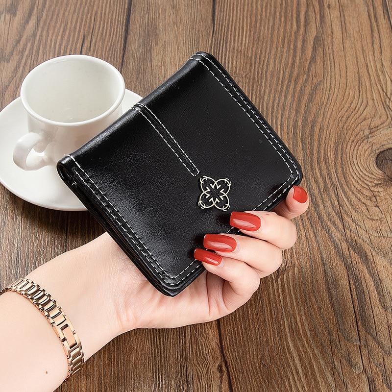 محفظة جلدية صغيرة للنساء ، محفظة فاخرة مع جيب بسحاب ، محفظة بطاقات صغيرة للسيدات ، جيب قصير