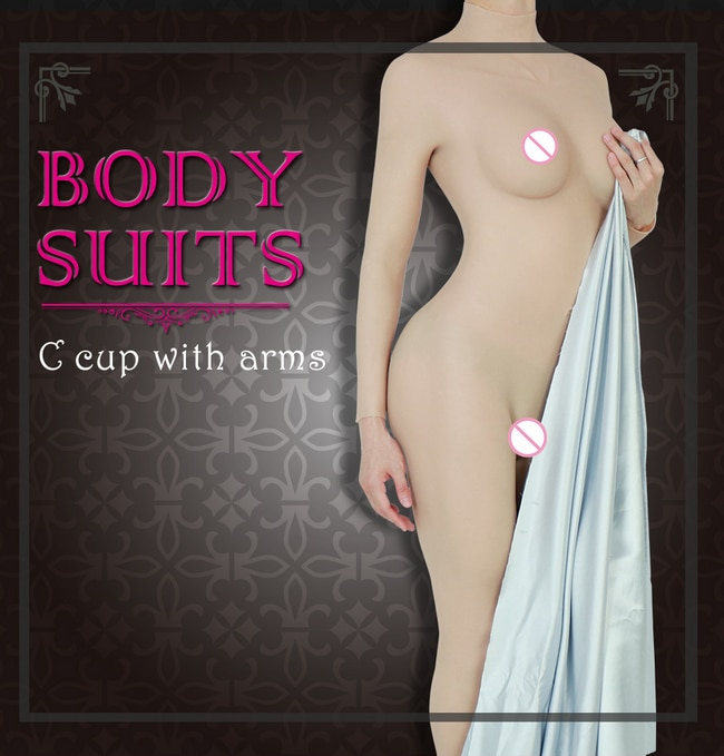 Silicone Breast Forms Shemal Whole Body Suits with Arms C Cup Fake Boobs Body Suits for Crossdresser Transgender Bodysuit Men
