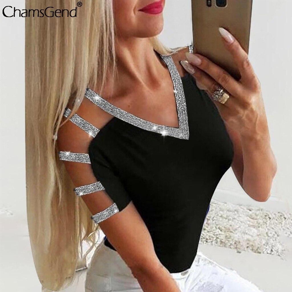 Diamantes de imitación de moda hueco tops señoras brillante frío hombro de manga corta Jersey fiesta camiseta Tops Sexy básicos camisas # 4z