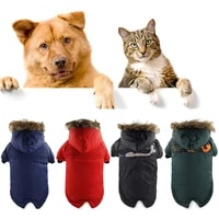 puppy dog padded jacket winter warm pet clothes for small medium dogs cotton hoodie coat with hat for chihuahua french bulldog