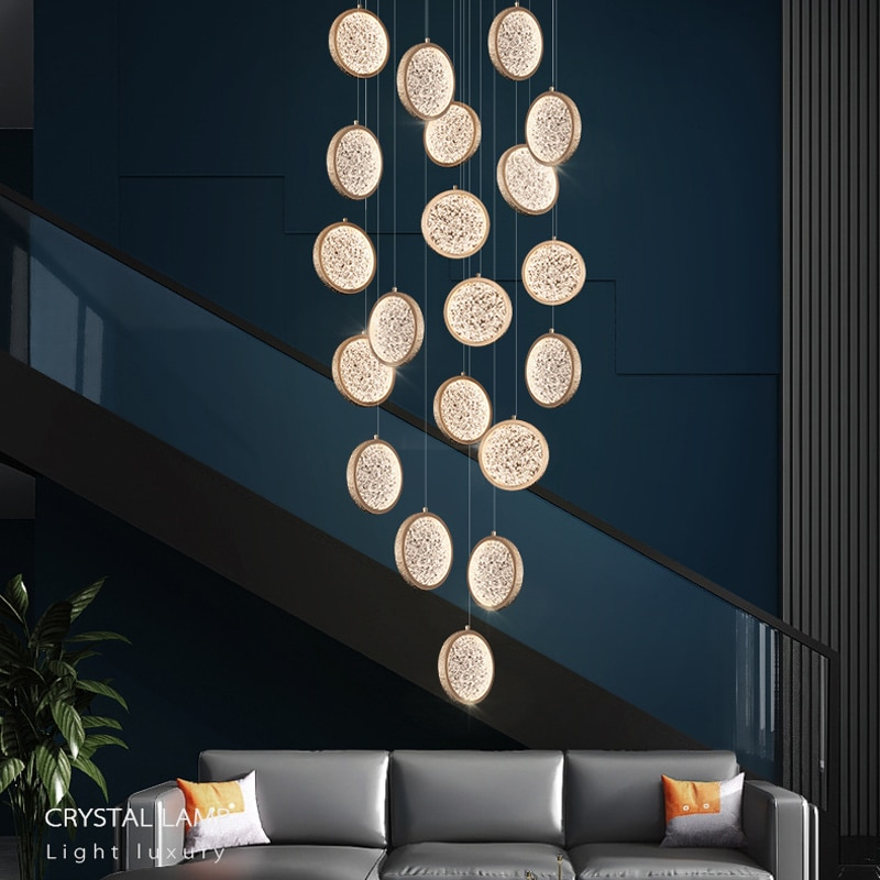LED Chandelier Modern Acrylic Round bedroom 110V bedside living room hotel room bar counter restaurant Ceiling hanging Light