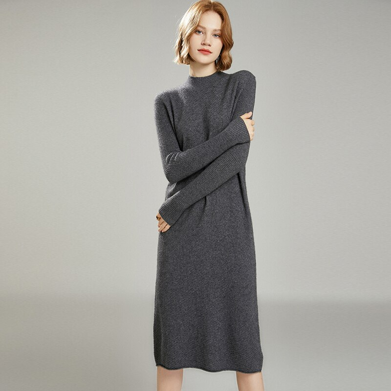MeetMetro Women Sweater Dress Turtleneck 35%Cashmere Pullover Women Slim Wool Long Sweaters Knitted Sweater Dress Jumper Women enlarge