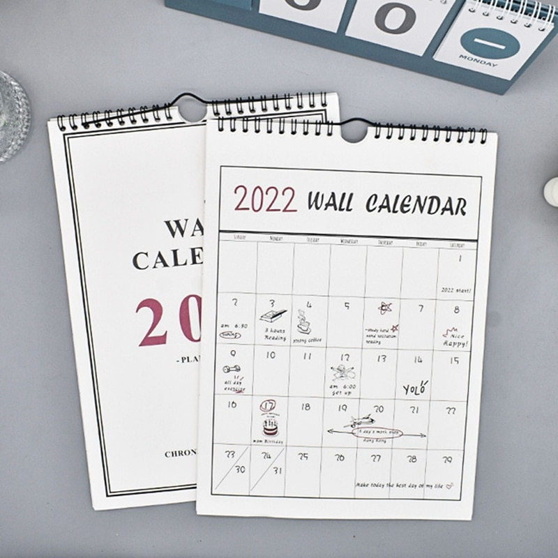Winter Creative 2022 Hand-painted Wall Calendar Simple Hanging Calendar Punch Card Plan This Hanging Calendar Grid Note