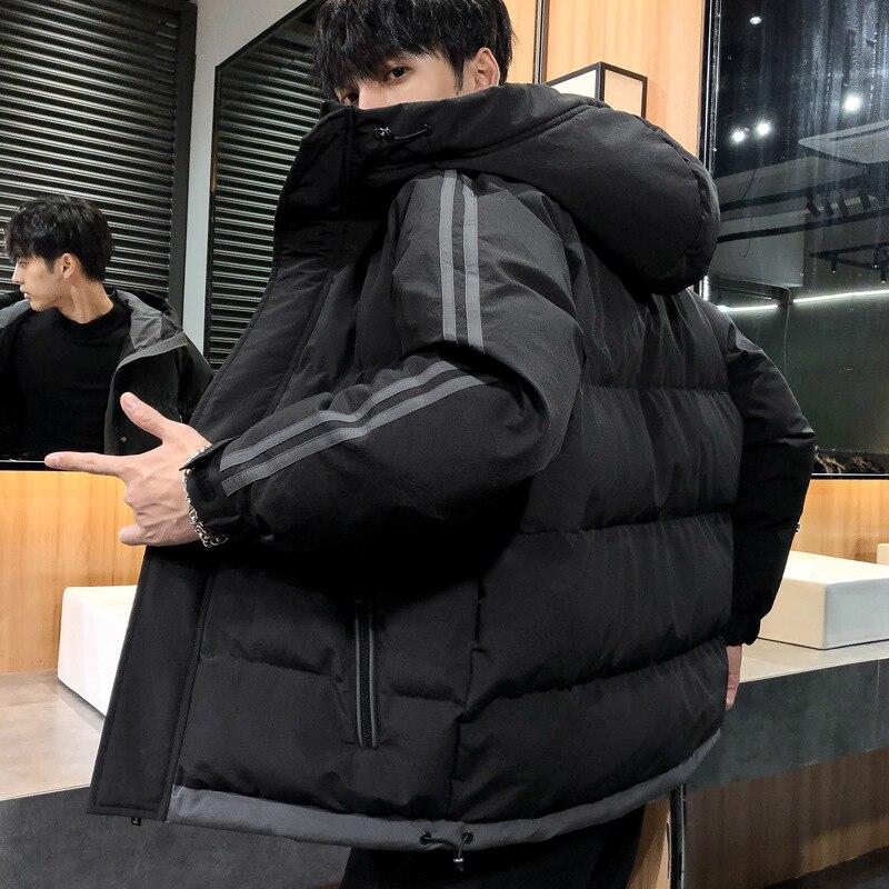 Мужская зимняя стеганая куртка, новая мужская стеганая куртка из хлопка, свободная стеганая куртка большого размера с капюшоном для сохран...