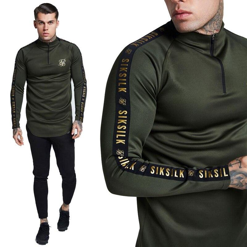 Moda Otoño 2019 camiseta de seda Sik de alta elasticidad para hombre, camiseta de manga larga para Fitness, camiseta de marca de gimnasio sólido para hombre