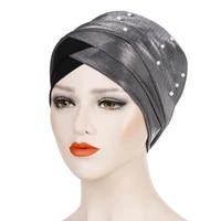 muslim women beading hijab elastic turban hat polyester chemo cancer cap headscarf bandana underscarf caps islamic turbantes