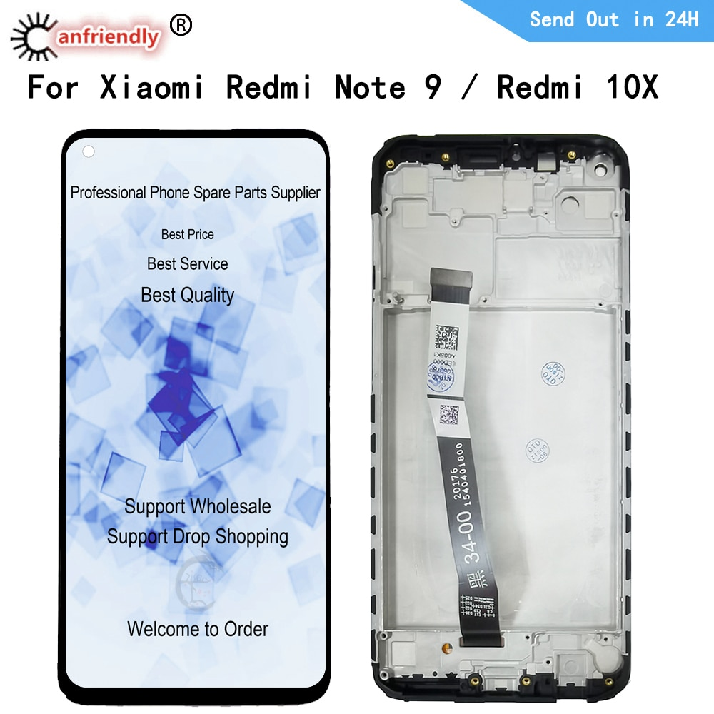 ЖК-дисплей для Xiaomi Redmi 10X Note 9 M2003J15SC M2003J15SG M2003J15SS ЖК-дисплей сенсорный экран цифровой преобразователь датчик с рамкой в сборе