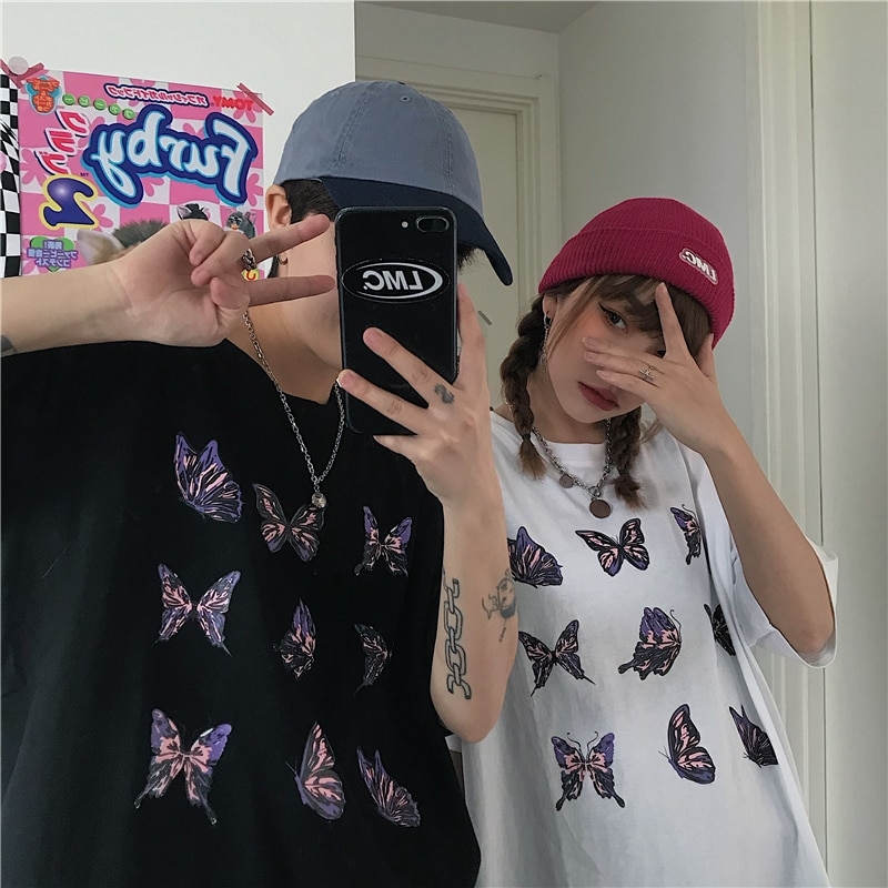 Butterfly Printed Women Men T-Shirt Female Graphic T-shirt Harajuku Tops Cute Short Sleeve Animal Street Style Couple Outfit New