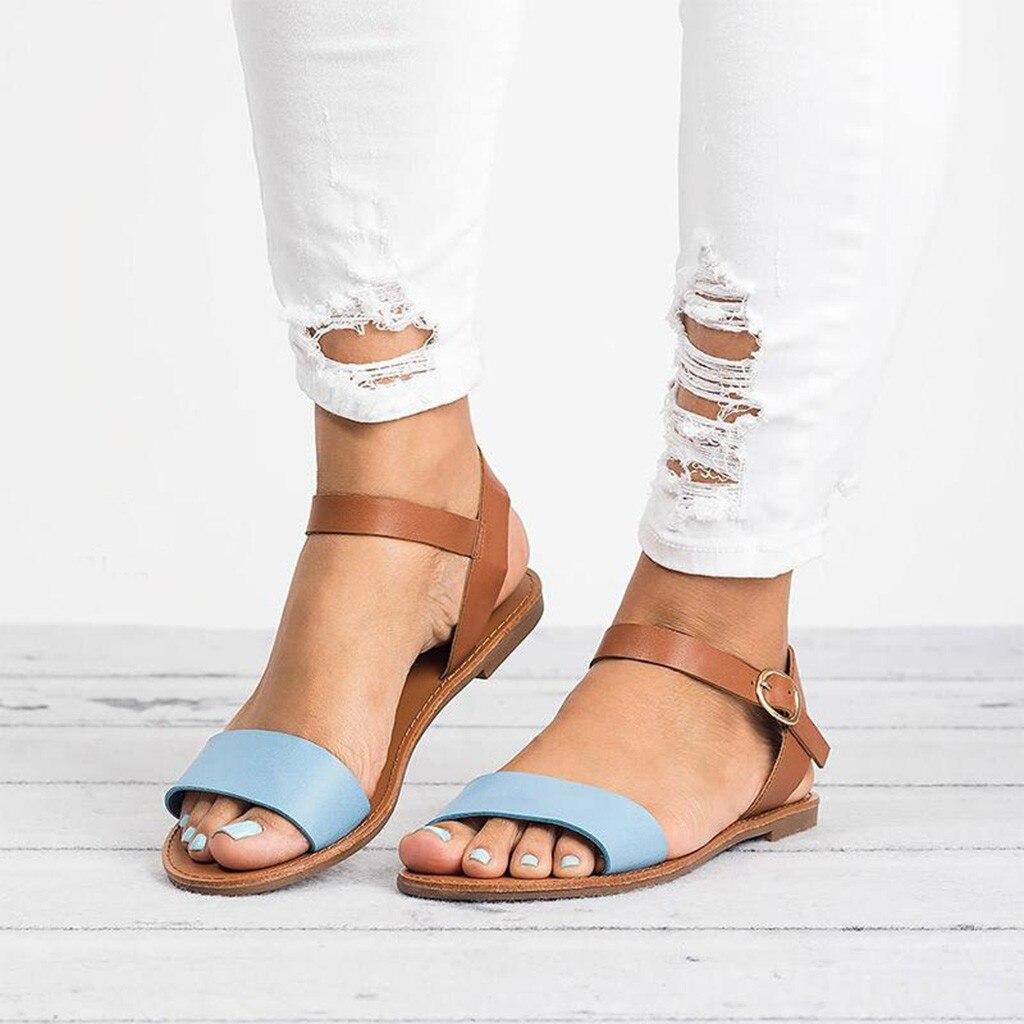Sagace sandálias femininas de couro, tamanho grande, de couro, rom, cor mista, peep toe, sandálias femininas, casual, com fivela, colorblock, boca de peixe