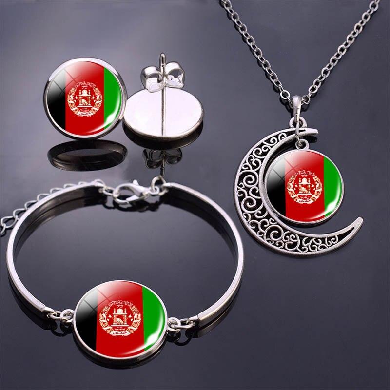 Pulsera/brazalete, collar, pendientes, conjunto de joyería de la bandera de Afganistán joyería cabujón de cristal conjunto de bandera de Afganistán pulsera flag pendientes