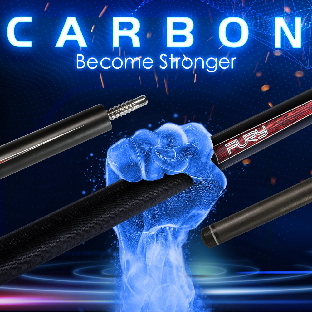 Original FURY CFP Billard Schwarz Technologie Pool Queue 12.5/12,8mm Kamui Spitze PAS Carbon Wellen Professionelle Billar stick Kit