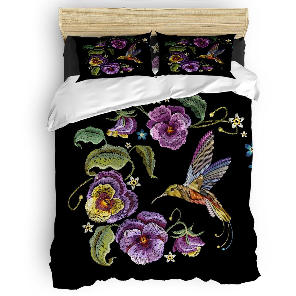Juego de cama con diseño de colibrí de flores y animales de 4 uds, juego de cama para el hogar, juego de colcha de lujo