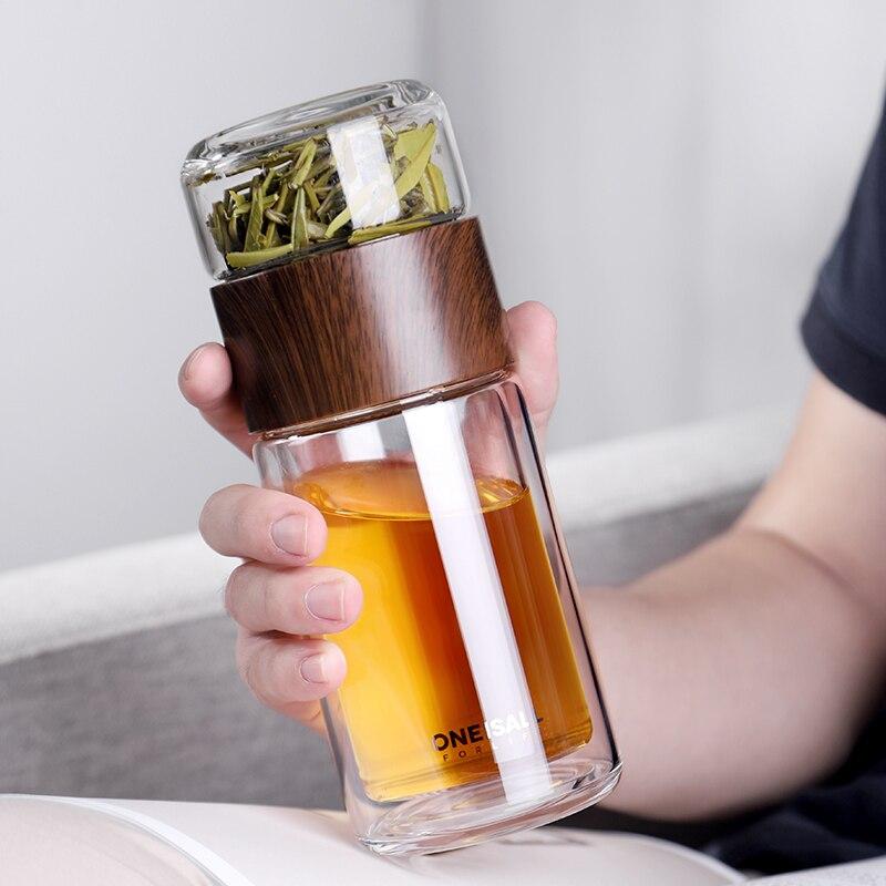 Дорожные чайные чашки, китайская чайная стеклянная бутылка для воды, стеклянная бутылка с двойными стенками, разделительные стеклянные кру...