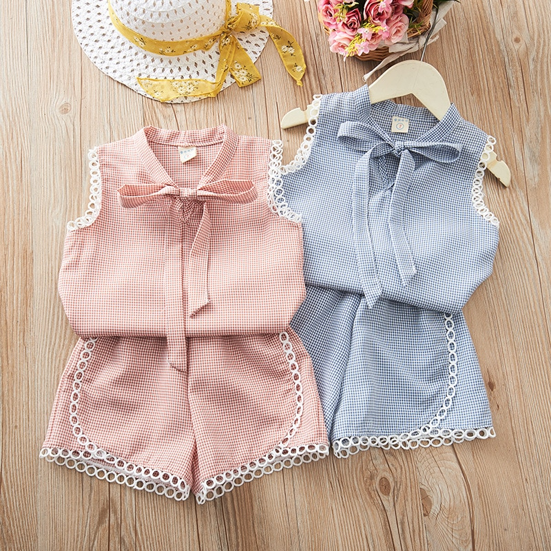 Комплект летней одежды для девочек, новинка 2020 года, Корейская одежда для девочек костюм для малышей комплекты одежды из 2 предметов топы с к...