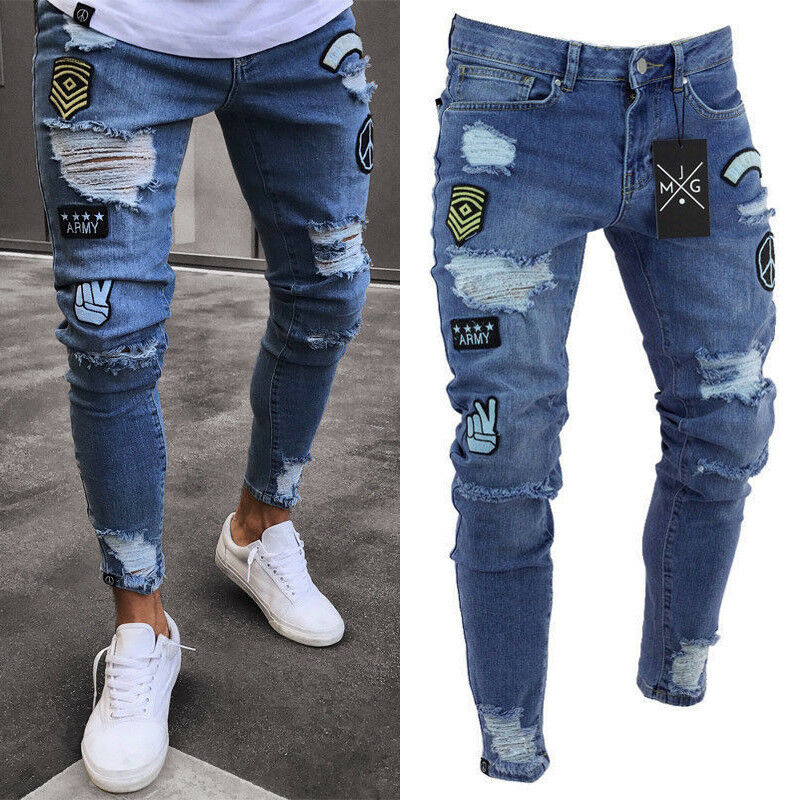 New Fashion Mens Skinny Jeans Rip Slim fit Stretch Denim Distress Frayed Biker Scratchted Hollow out
