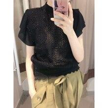 Hoge Kwaliteit Vrouwen Zoete Viscose Knit Top Sexy Transparante Blouse Vrouwelijke Holle Out Korte Stijlvolle Shirts Lace Blusas B-006