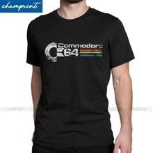 Mannen T-shirts Retro Commodore 64 Vintage Puur Katoen Tees Korte Mouwen C64 Amiga Computer Geek Nerd T-shirt O Hals tops Idee