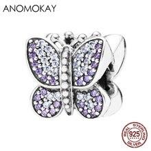 100% Sterling 925 argent violet cristal perles idéal pour bracelet élégant européen américain perles dispersées décoration de chaîne