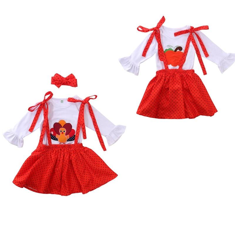 Niñas pequeñas 3 uds Halloween traje de manga larga cuello redondo volante calabaza/Top de pavo Dot Liga impresa falda lazo diadema