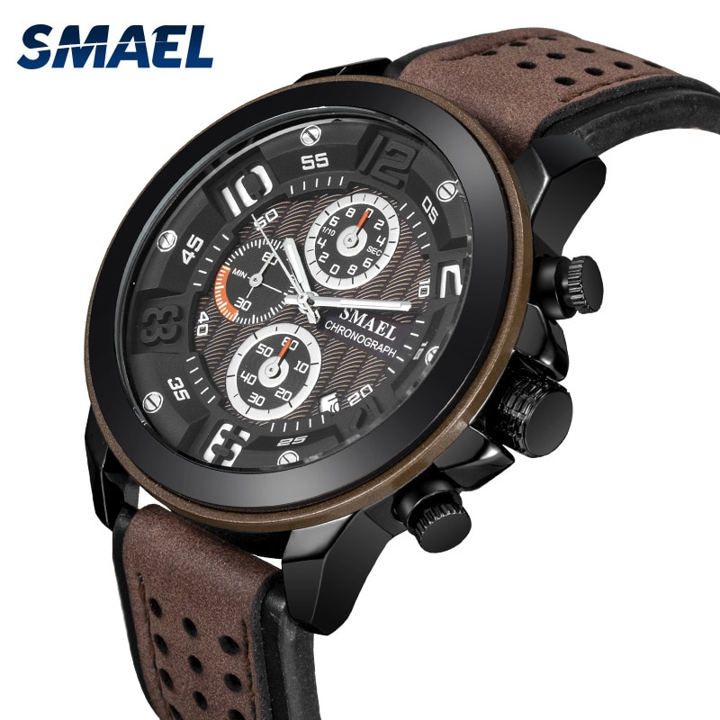 Leather Quartz Watches Bracelet SMAEL Men Watches Casual Analog Digital Men Watch Military Sport Watches Life Waterproof Relogio