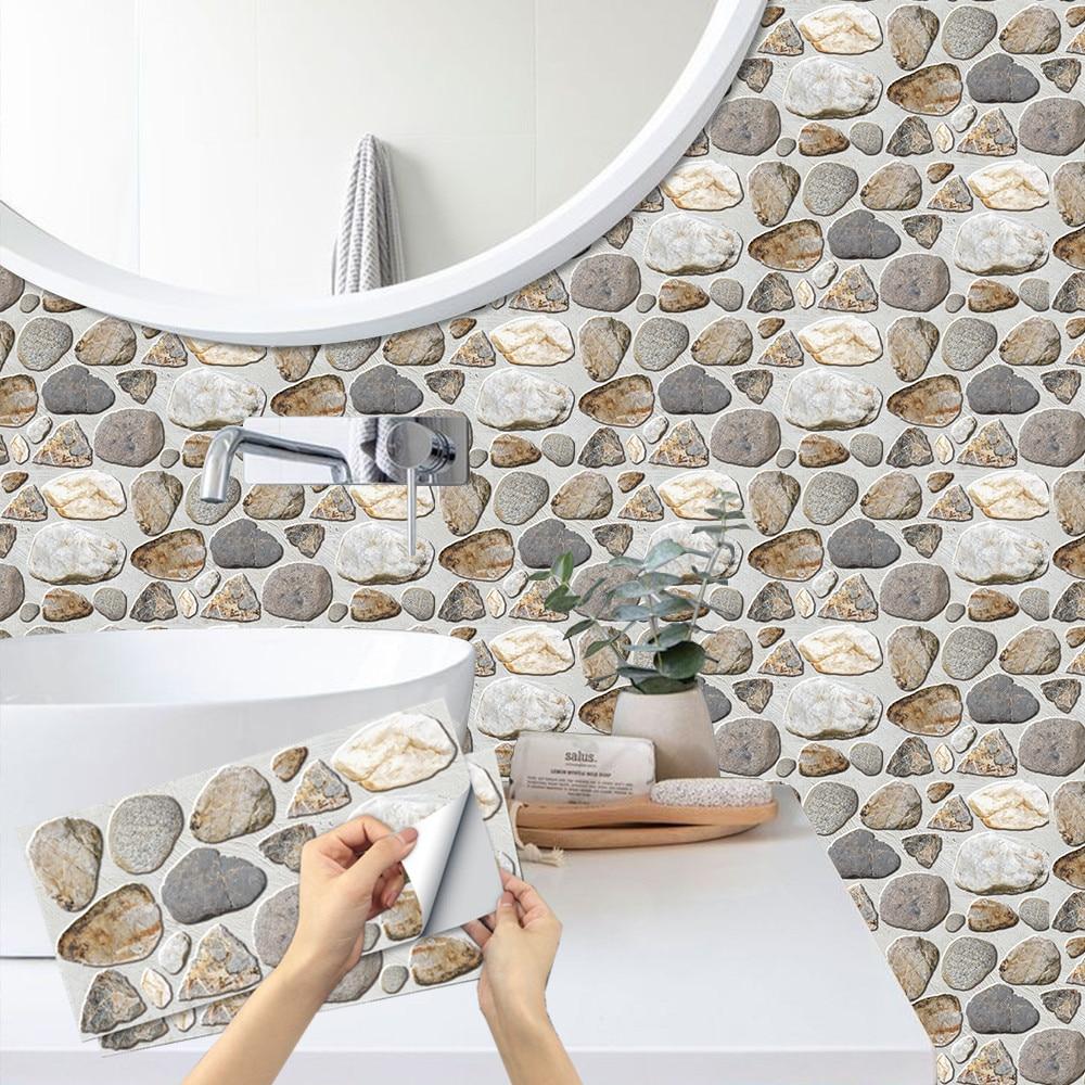 Самоклеящиеся обои 3D с узором из булыжника, матовый кирпич, настенная плитка, наклейка для кухни, ванной, украшение для дома, водонепроницаемые художественные обои