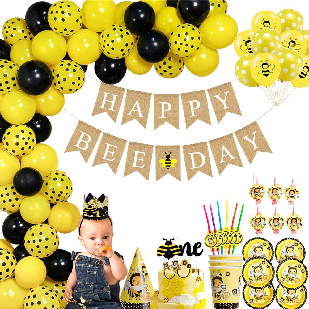 Пчелиные латексные воздушные шары в черный горошек, звезда, фольга, воздушные шары, мультяшный медовый пчелиный тематический день рождения ...