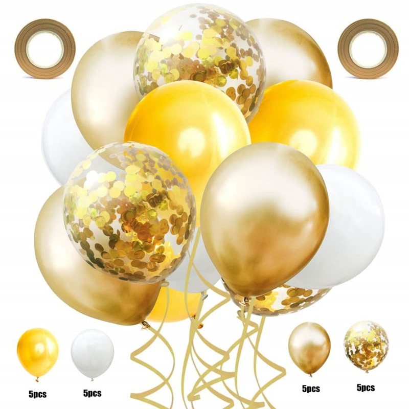212 inch metal balloon sequin latex balloons set wedding party decoration birthday party for kids baby show globos  - buy with discount