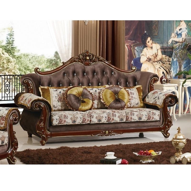 Ensemble de sofa bon marché de tissu en bois solide de salon de sofa