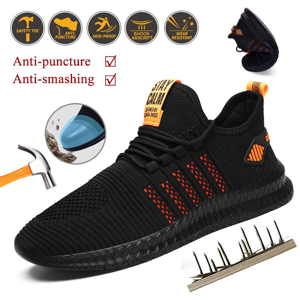 Кроссовки мужские с амортизацией, летняя защитная обувь, из дышащего материала, с защитой от проколов, рабочая обувь, стальной носок