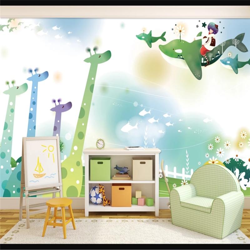3D обои на заказ, мультяшный жираф, детская комната, настенный фон, украшение интерьера стены, картина