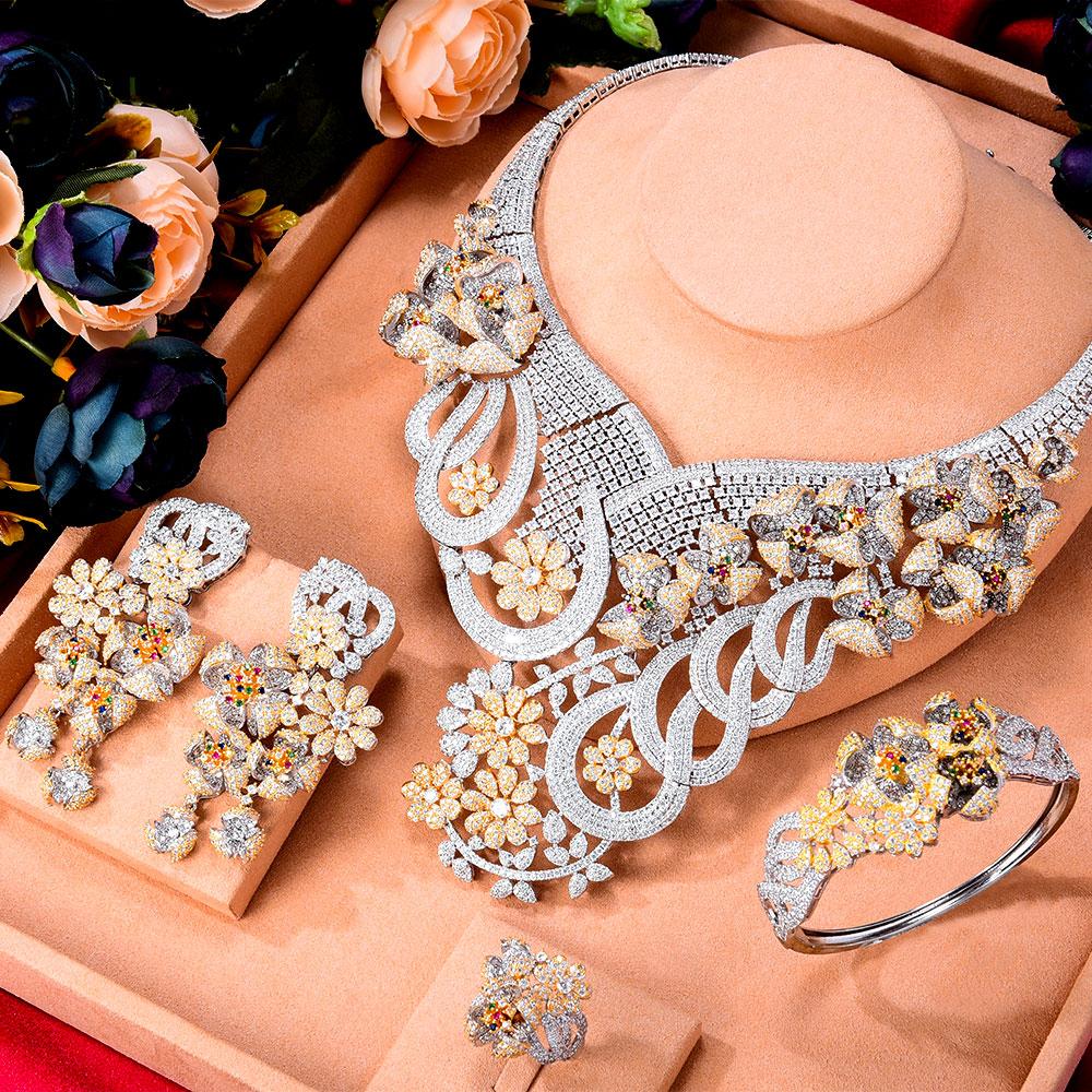 GODKI سوبر الفاخرة 4 قطعة زهور كبيرة أفريقيا زركون مجموعة مجموعات مجوهرات للنساء الزفاف زركون دبي طقم عروسة
