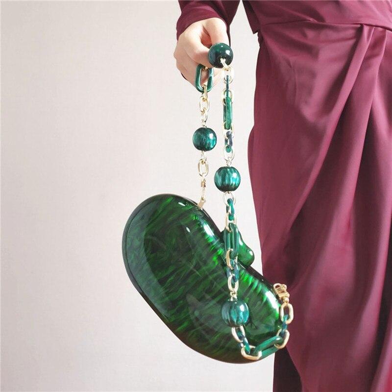 حقيبة يد بسلسلة من الخرز ، حقيبة يد بتصميم هندسي ، أكريليك ، أخضر