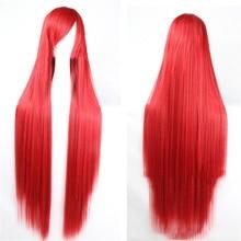 Pageup 100cm Lange Gerade Perücken Mit Pony Wärme Beständig Synthetische Haar Für Frauen Rot Braun Blonde Cosplay Perücken