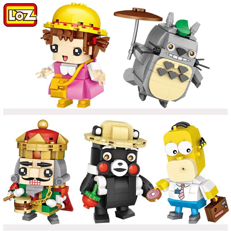 LOZ bloques de edificios de dibujos animados Totoro Bear Miyazaki Anime Simpsoned Mini figuras ladrillos juguetes de cabeza para bloques de colección