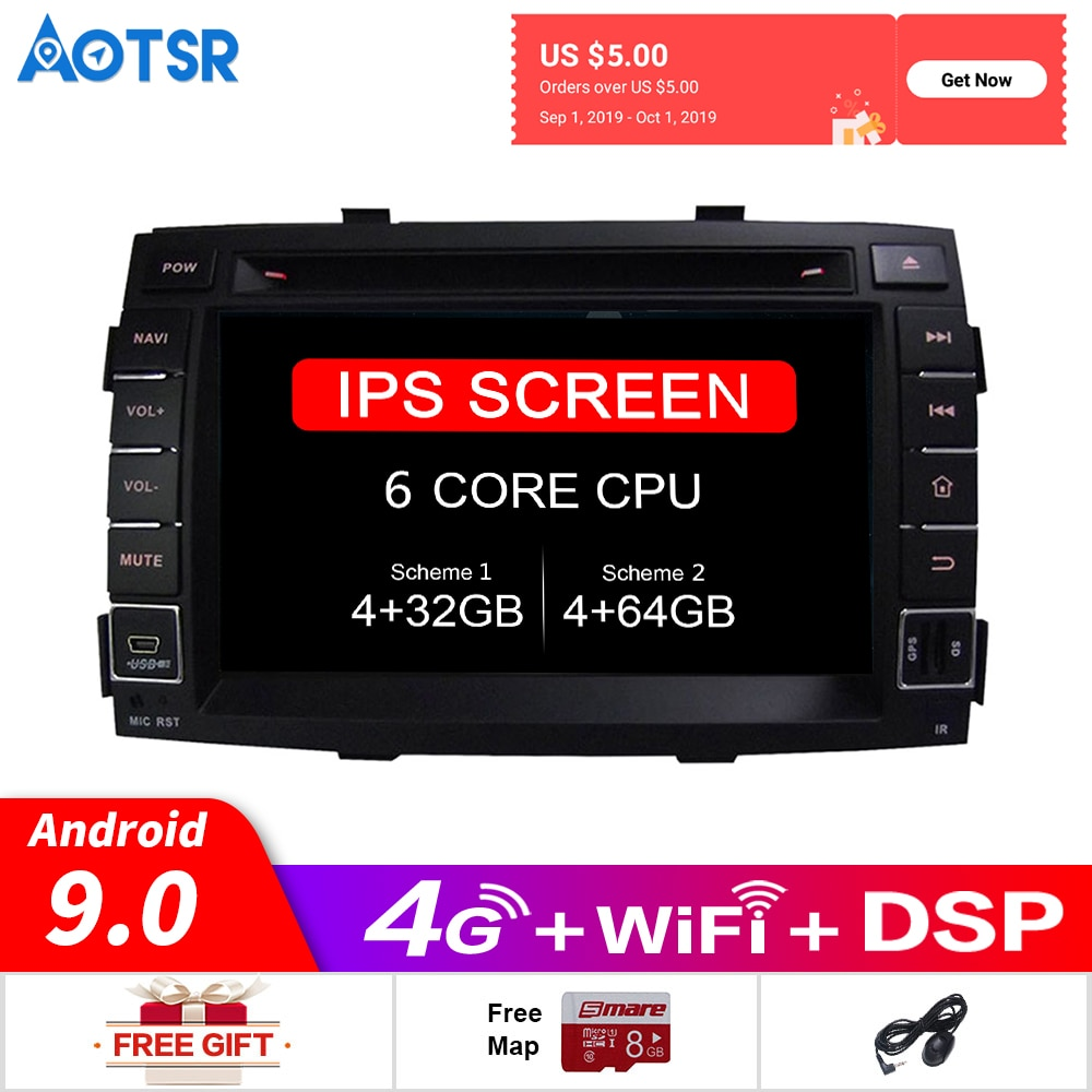 Android 9,0 gps para coche reproductor de DVD multimedia Radio para kia SORENTO 2010 de 2011 de 2012 GPS para coche de navegación reproductor de vídeo DVD unidad principal DSP