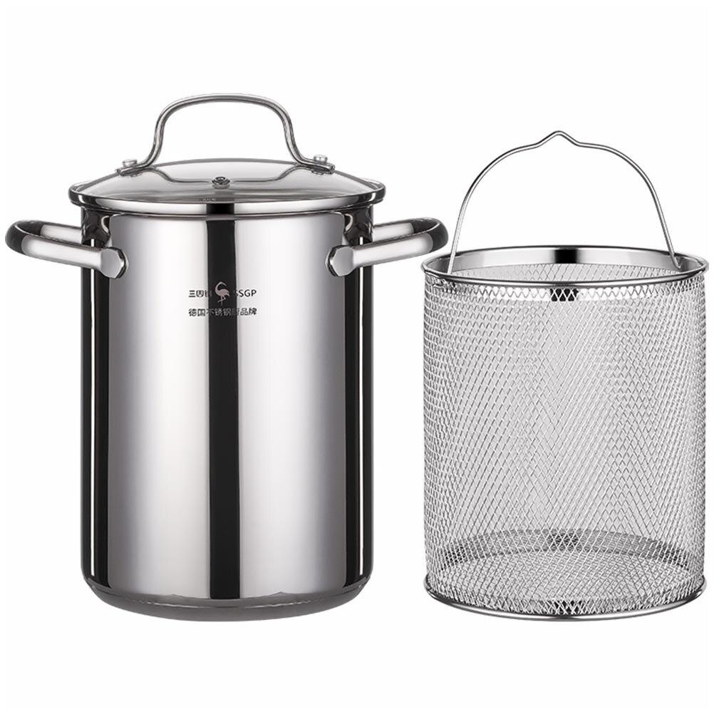 1 مجموعة من الفولاذ المقاوم للصدأ مقلاة وعاء القلي المنزلية مع سلة القلي