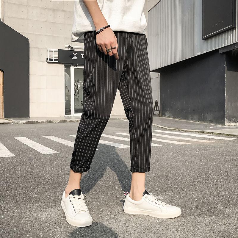 Pants men's spring casual cropped pants plaid pants stripe Student Korean fashion loose and versatile men's pants summer velvet cropped hoodie and pants twinset