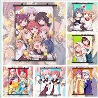 WTQ     affiches Anime Yuru Yuri retro  toile de Manga  peinture  decor mural  image dart mural pour decoration de salon  decoration de maison