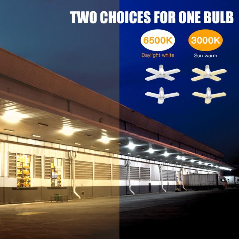 3/4 yaprak katlanır LED garaj ışığı ev E26 3000K/6500K çok fonksiyonlu su geçirmez enerji tasarruflu lamba dayanıklı mağaza ışıkları